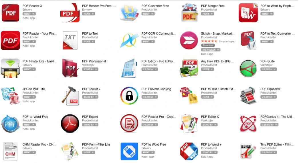 Billedet viser et udsnit af de mange overflødige PDF-apps i App-Store