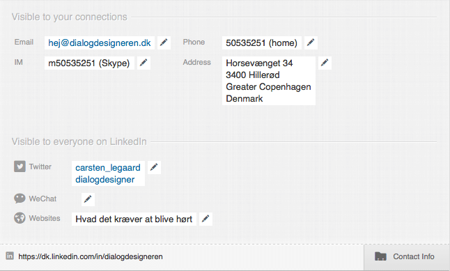 LinkedIN profil optimering i Contact Info