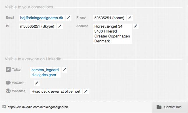 LinkedIN profil optimering i Contact Info