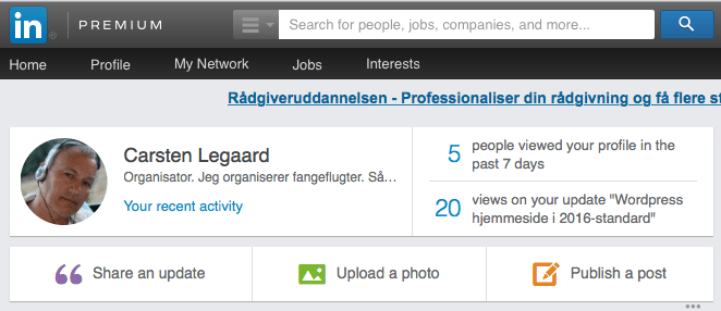 LinkedIN profil-optimering i updates