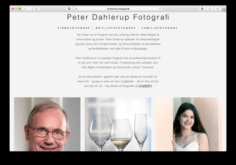 Fotograf Peter Dahlerup, Fredensborg – tre fotografspecialer og en hjemmeside til hver